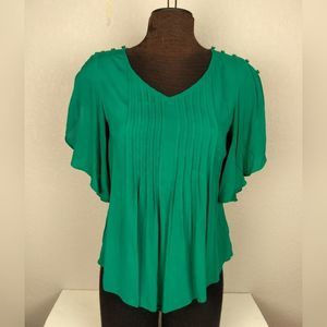 Maeve Anthropologie Green Fluttered Maya Blouse 0